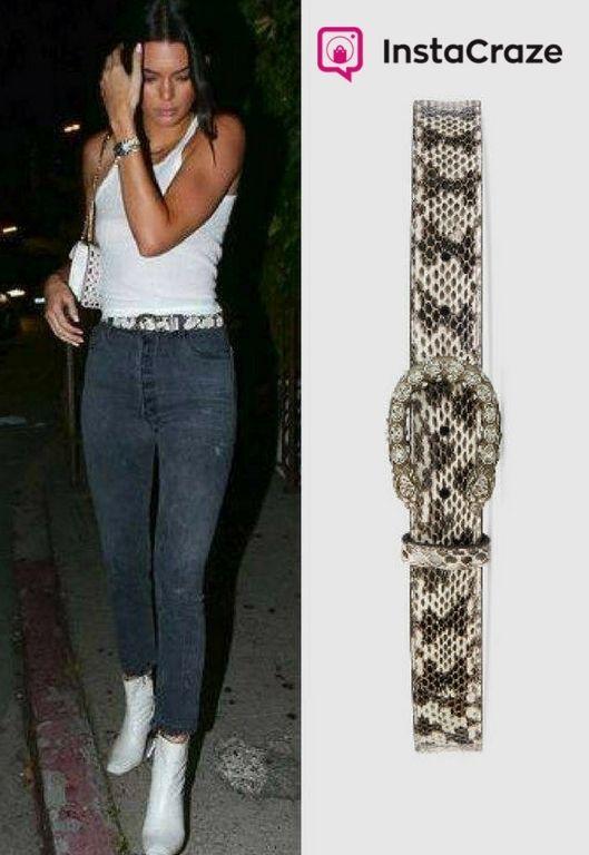 snakeskin #belt with our textured tiger head buckle embedded in black Swarovski crystals. Price: $890.00  Celebrity: #KendallJenner