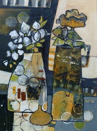 "Neutral Zone by Linda Bell, Acrylic Collage, 24"" x 18""  FCA Autumn Salon 2013  SOLD 
