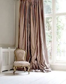 Blush pink silk curtain
