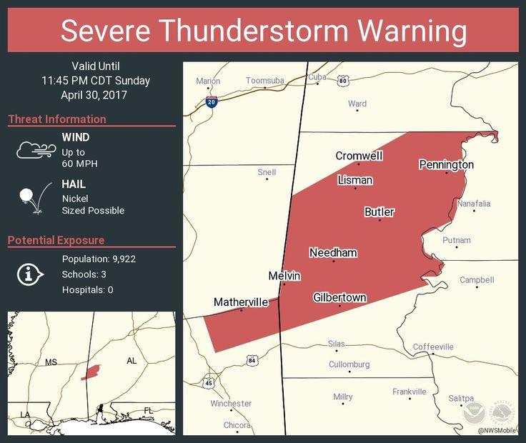 NWSSevereTstorm: Severe Thunderstorm Warning including Butler AL, Lisman AL, Pennington AL until 11:45 PM CDT pic.twitter.com/ABTDVpWAN5 - https://blog.clairepeetz.com/nwsseveretstorm-severe-thunderstorm-warning-including-butler-al-lisman-al-pennington-al-until-1145-pm-cdt-pic-twitter-comabtdvpwan5/