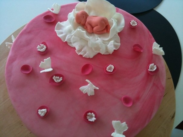 Baby shower cake Pink barnedåbs kage