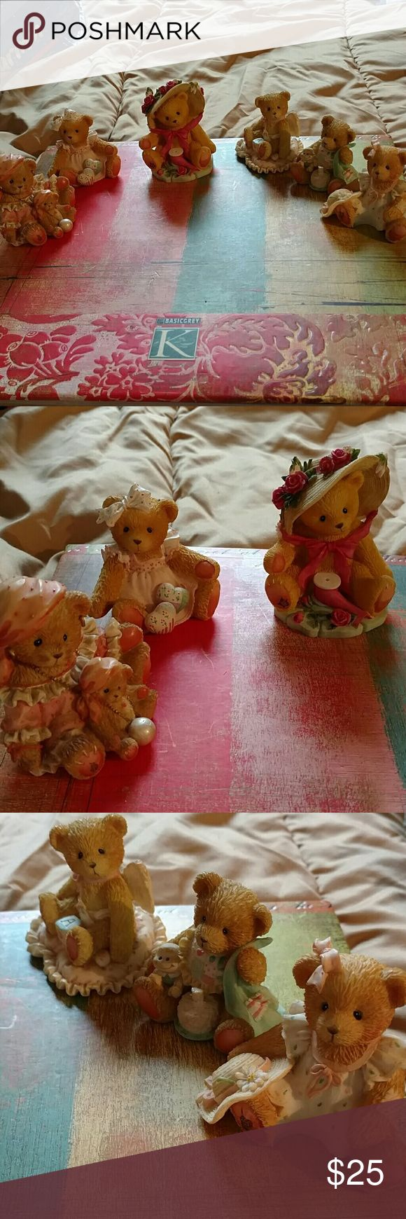 6 piece cherish Teddy home decor figurines All are in beautiful condition except one please see picture number 4 the fire to the birthday candle broke off. 6 piece Vintage cherished Teddy home decor figurines Other