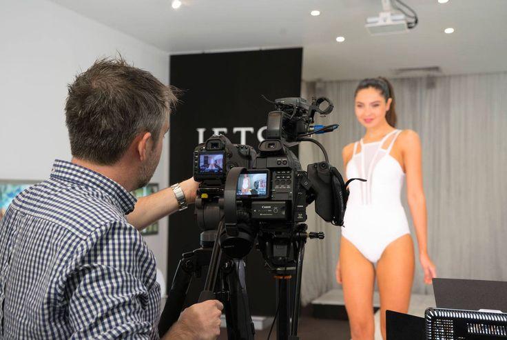 The model showcases new season styles featuring Jets Swimwear Aspire  #JETSSwimwear