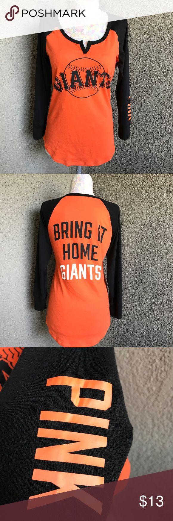 VS Pink SF Giants Top Pre-owned wore handful of times, still has lots of life left. See pictures All items are honestly presented to the best of my knowledge, and are stored in a non-smoking environment. Item is in great condition unless noted. No returns  Please view listing pictures & additional questions are always welcomed. PINK Victoria's Secret Tops