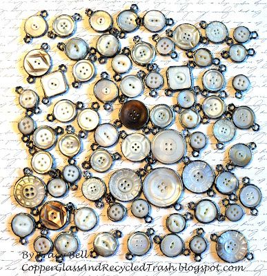❥ Antique Button Links by Tracy Bell @ CopperGlassAndRecycledTrash.blogspot.com - also rulers, lace, compasses.....