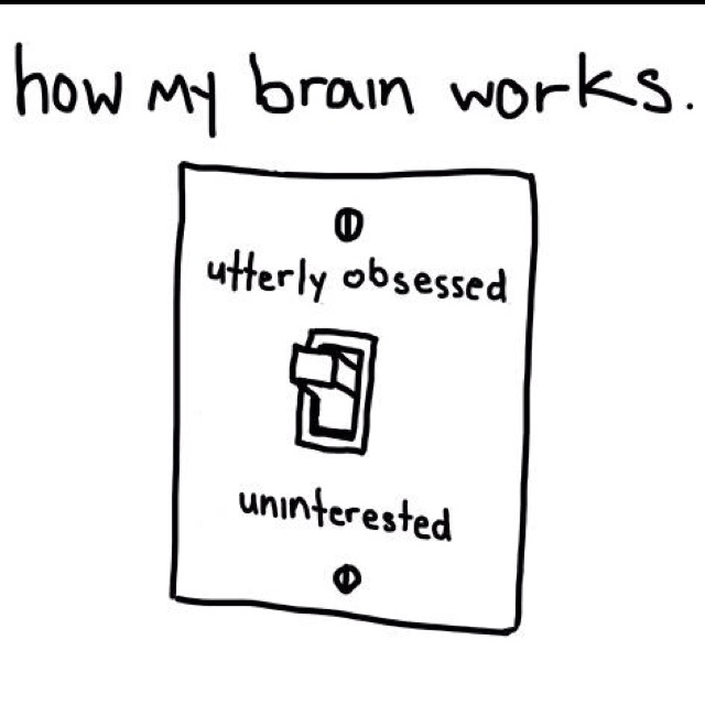 How my brain sometimes ... oh, maybe mostly works ... On = utterly obsessed. Off = uninterested  ;-D