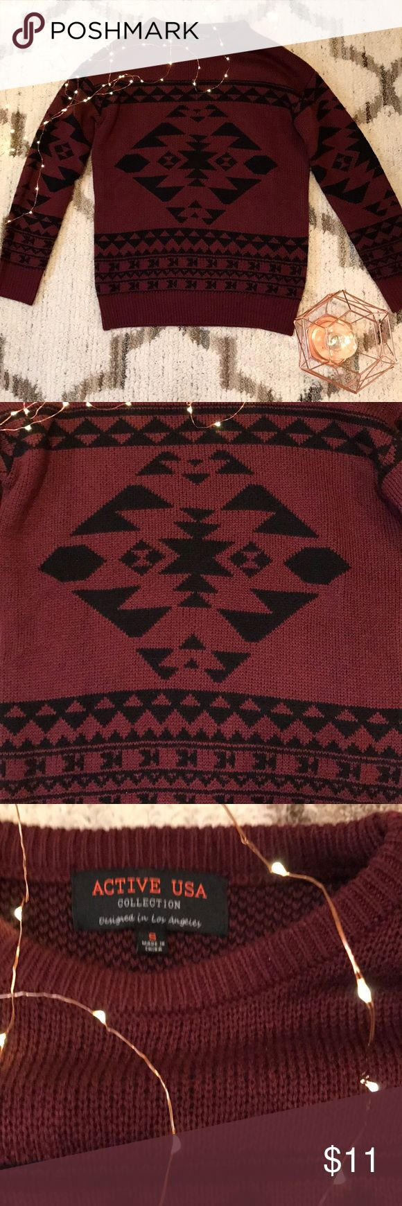Maroon and Black Tribal Print Sweater Maroon and Black Tribal Print Sweater Never worn and no flaws Brand: Active USA collection Size Small Active USA Collection Sweaters Cowl & Turtlenecks