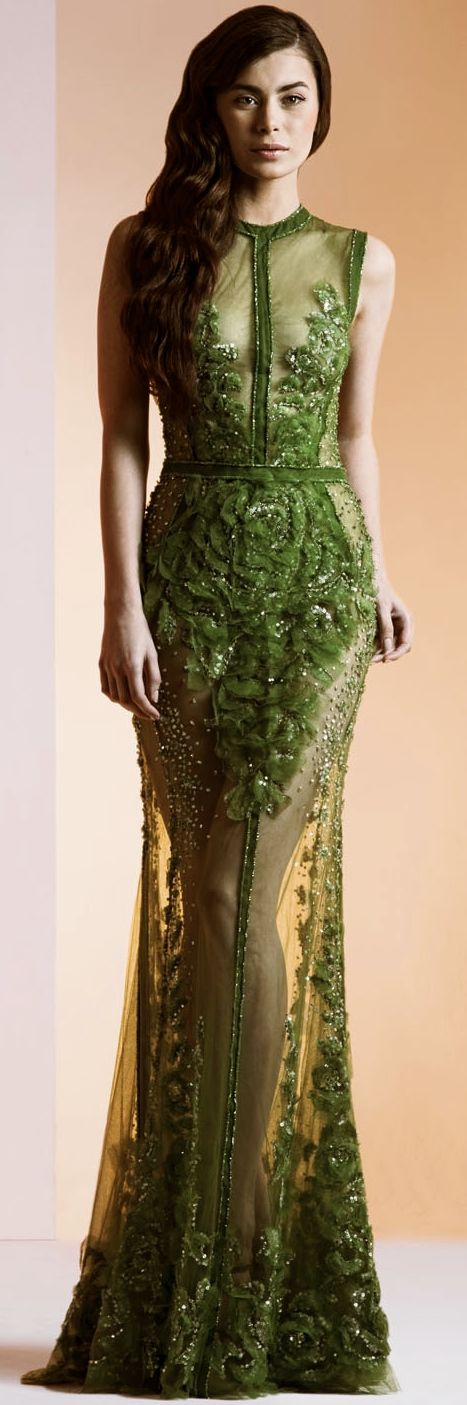 Ziad Nakad - Haute Couture S/S 2014  I've never seen green look so good on someone until now. ;)