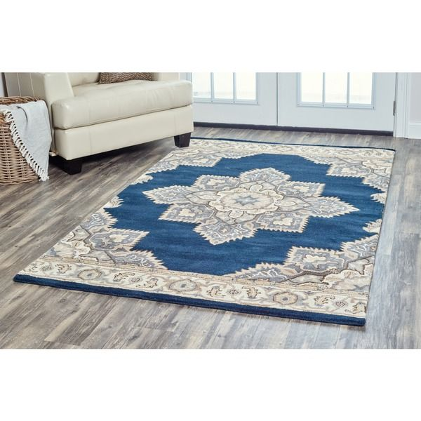 Arden Loft Crown Way Indigo Blue Shades Of Navy Oriental Hand Tufted Wool Area Rug X