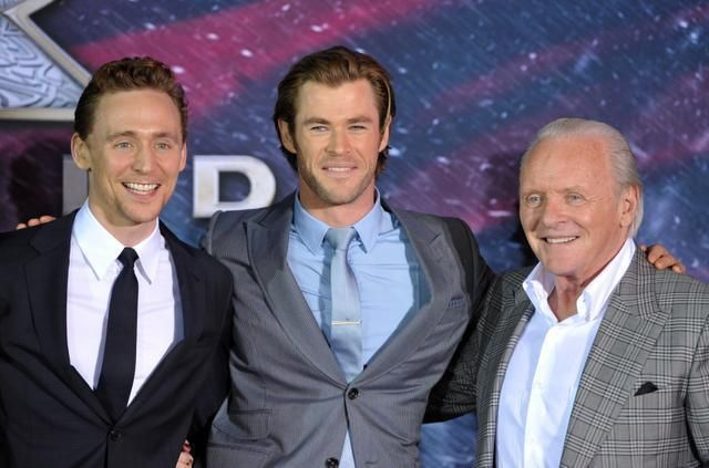 At last night's Thor premiere in Los Angeles, Tom Hiddleton, Chris Hemsworth and Anthony Hopkins. Photo -