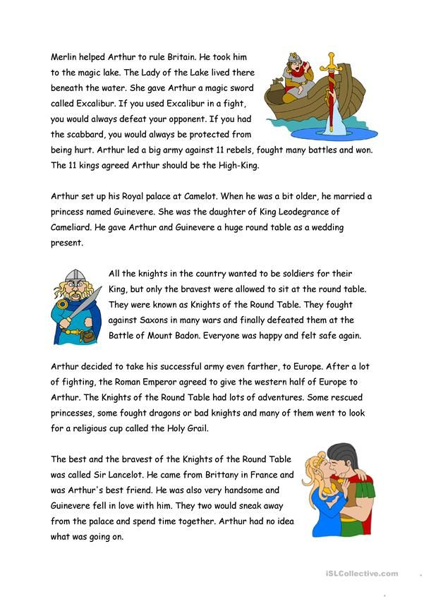 The Legend Of King Arthur English Esl Worksheets For Distance Learning And Physical Classrooms In 2021 Legend Of King King Arthur Pre Reading Activities
