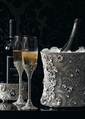 Swarovski crystal champagne bucket, wine glasses and bottle holder! www.kerlagons.com