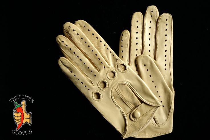 Women's CREAM lambskin leather driving gloves - MANUAL SEWING - pinned by pin4etsy.com