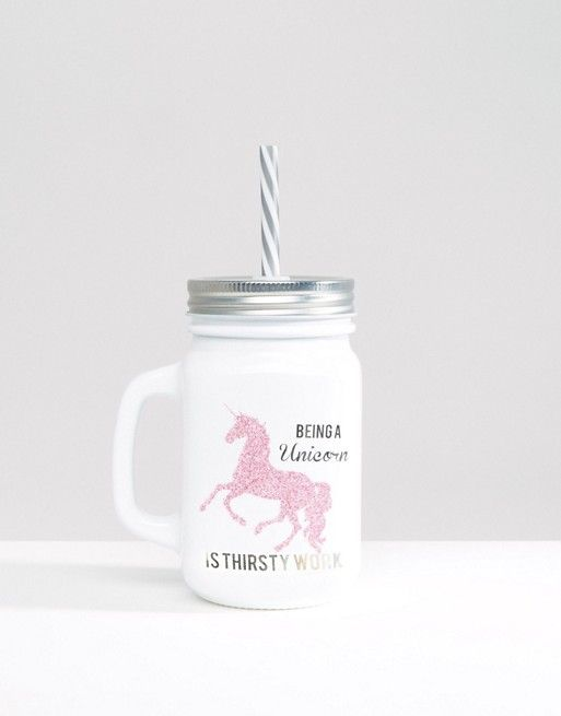 Cute unicorndrinking jar $10.50, Perfect gift for her, teens, girls, and kids. Great to use during the summer hot weather to keep you from dehydration.