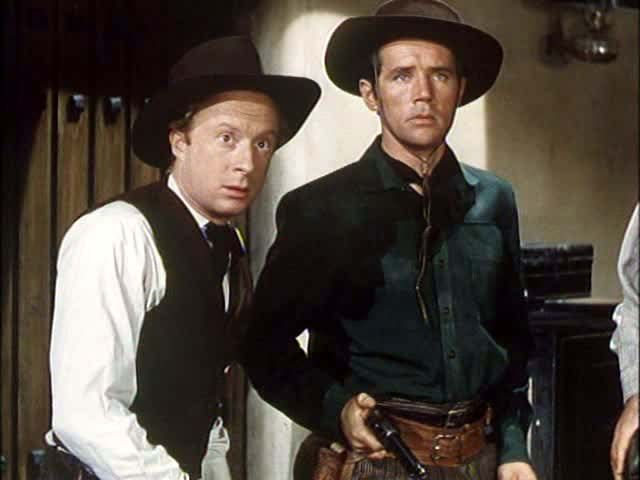 Norman Lloyd (left) played 'Judas' Jim Murphy in the 1949 film CALAMITY JANE AND SAM BASS, one of several familiar characters to Denton TX.