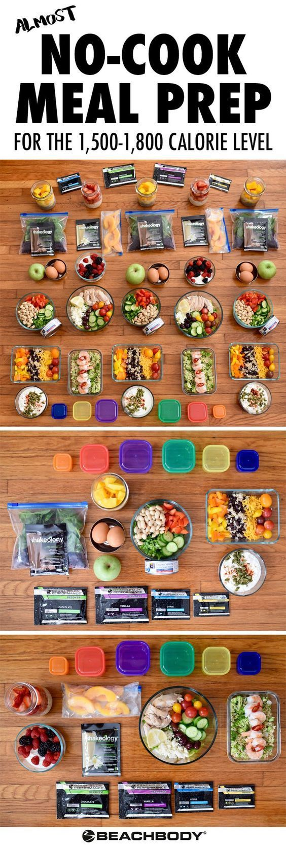 If you're in for some busy weeks ahead, make sure you've got your clean eating covered with this *almost* no-cook meal prep. It follows the Portion Fix eating plan at the 1,500–1,800 calorie level. Super easy, super fast, super healthy! // recipes // clean eating // no cook // meal prep // meal prepping // meal planning // meal plans // healthy // ideas // weight loss // easy // simple // motivation // containers // 21 Day Fix // Autumn Calabrese // Beachbody // http://BeachbodyBlog.com