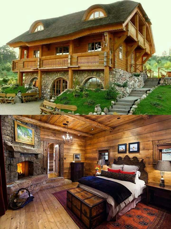 I Like The Stone Wood In This Cabin Log Homes Log Cabin Homes Cabins And Cottages