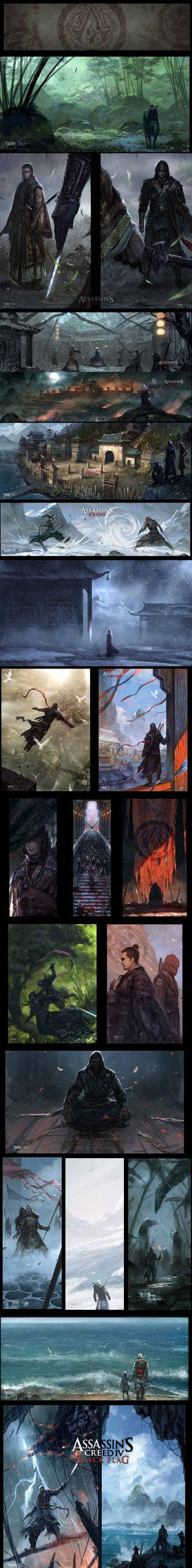 A series of full art of my work over Assassin's Creed fan art.