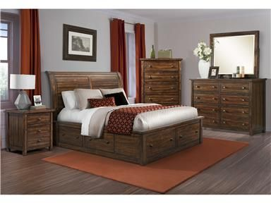 Shop for Elements International , Dawson Creek Sleigh Storage Bedroom, and other Master Bedroom Sets at Elements International in Rockwall, TX. Our Dawson Creek Sleigh Storage rustic bedroom collection features a sultry semi-gloss, deep chestnut lacquer finish. This carefully crafted set features clean lines throughout, sturdy panels in the headboard, extra storage in the rails and footboard, as well as brass metal knobs to compliment this warm and cozy look.