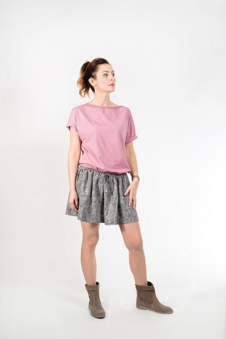 Bluzka brudny róż/ Blouse 150 zł, 60 EUR, Spódniczka z lnu/ Linen skirt 200 zł, 70 EUR