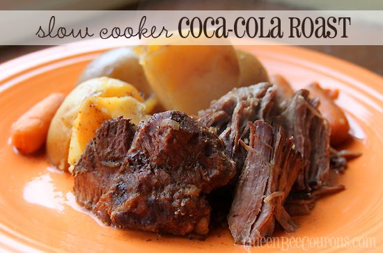 Slow Cooker Crockpot Coca-Cola Beef Roast recipe (simple) Copyright © QueenBeeCoupons
