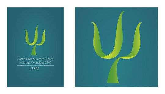 Asbstract Psychology Symbol for The Society of Australian Social Psychologists required a fresh, new logo for their Australasian Summer School program in 2011. The client required a logo that encapsulated the idea of growth and professionalism. A blade of grass, manipulated to resemble the symbol for psychology, Psi, was used to elegantly meet the brief.