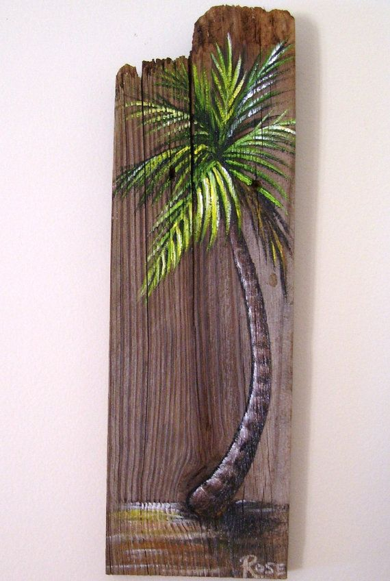 Palm Tree Hand Painted on Reclaimed Fence Board by roseartworks, $25.00