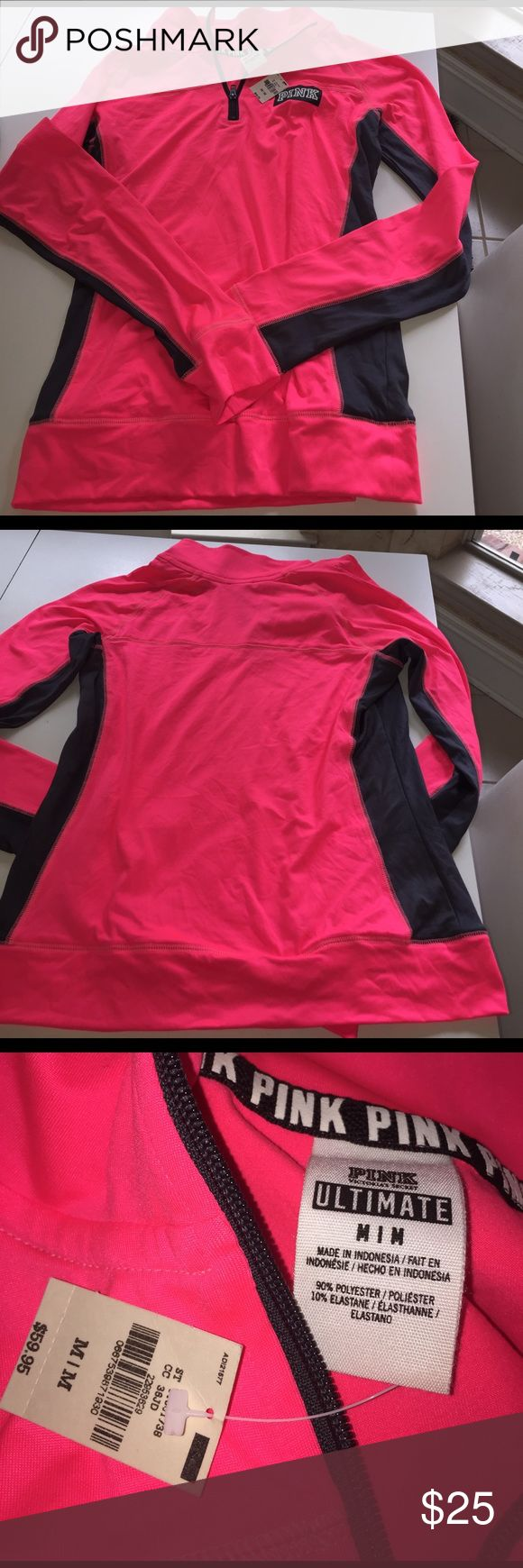Victoria secrets PINK medium pullover New with tags Victoria secrets PINK long sleeve zipper at neck ladies medium neon pink and dark gray tag says 59.95. Very soft. Light weight material. You will LOVE this. Underarm to underarm 19inches, underarm to bottom 18 inches. Underarm to end of sleeve 23 inches. Waist side to side 19 inches. PINK Victoria's Secret Tops Sweatshirts & Hoodies