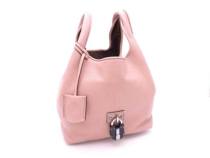 Auth LOEWE Calle PM Tote Handbag Pink Beige Leather USED - e28642 #LOEWE #Handbag