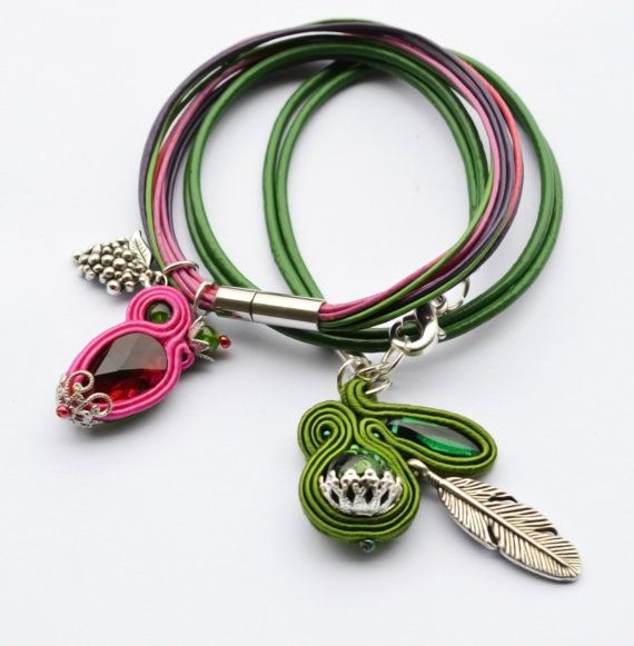 Casual Handmade Pink Green Violet Soutache by SixVintageChicks
