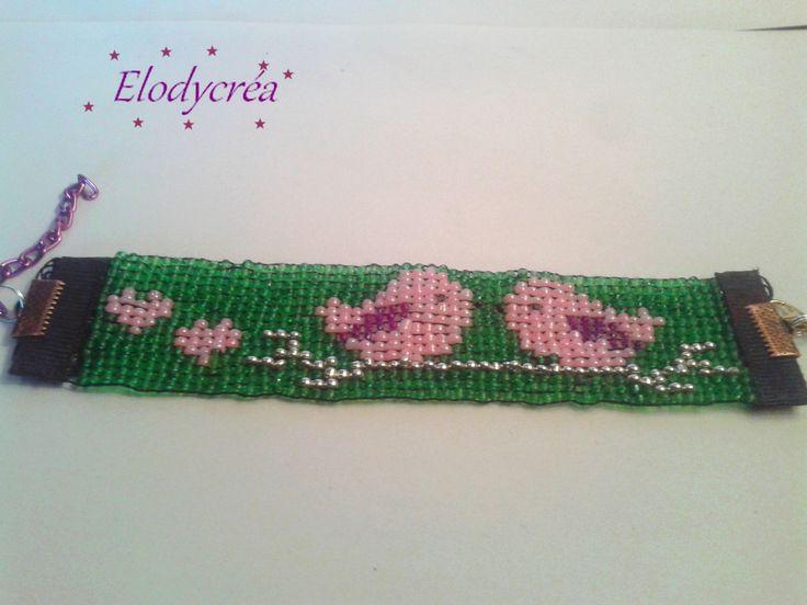 bracelet en perles tissées romantique petits oiseaux
