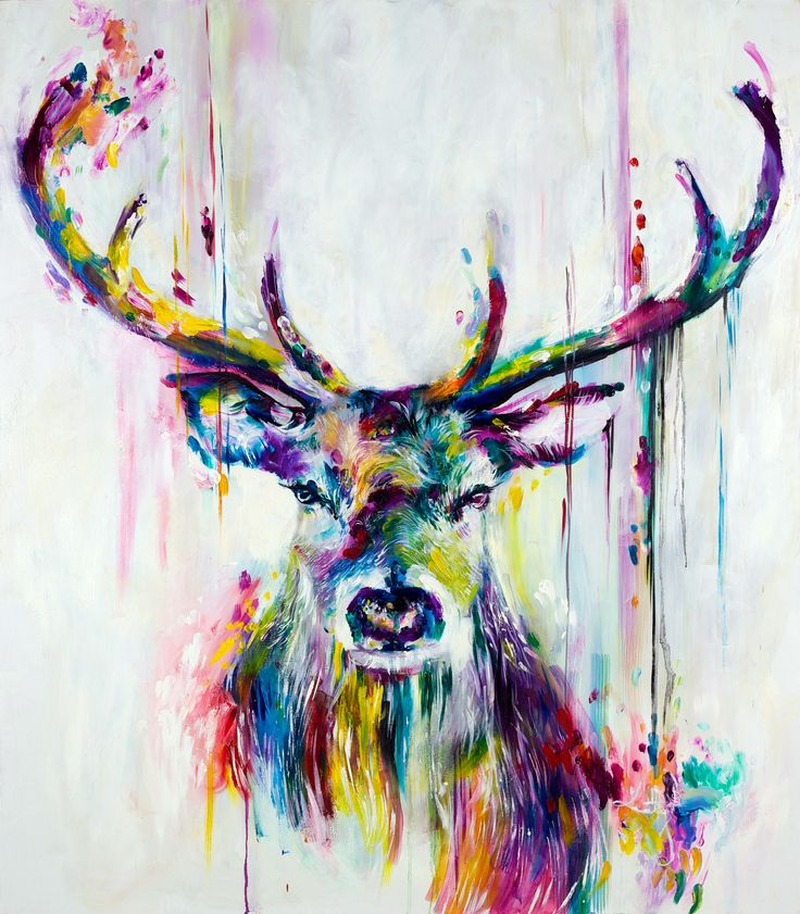 Katy Jade Dobson 'Prism Stag' Oil Painting - The Spectrum Collection
