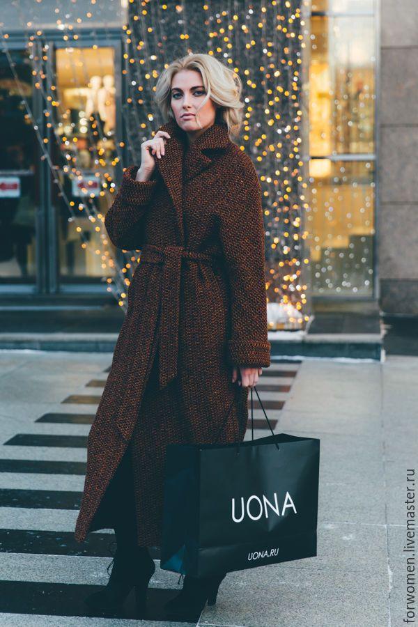Купить Зимнее пальто-халат, оранжевое - комбинированный, пальто, зимнее пальто, теплое пальто