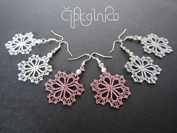 Small Snowflake Lace Earrings - handmade bobbin lace jewelry
