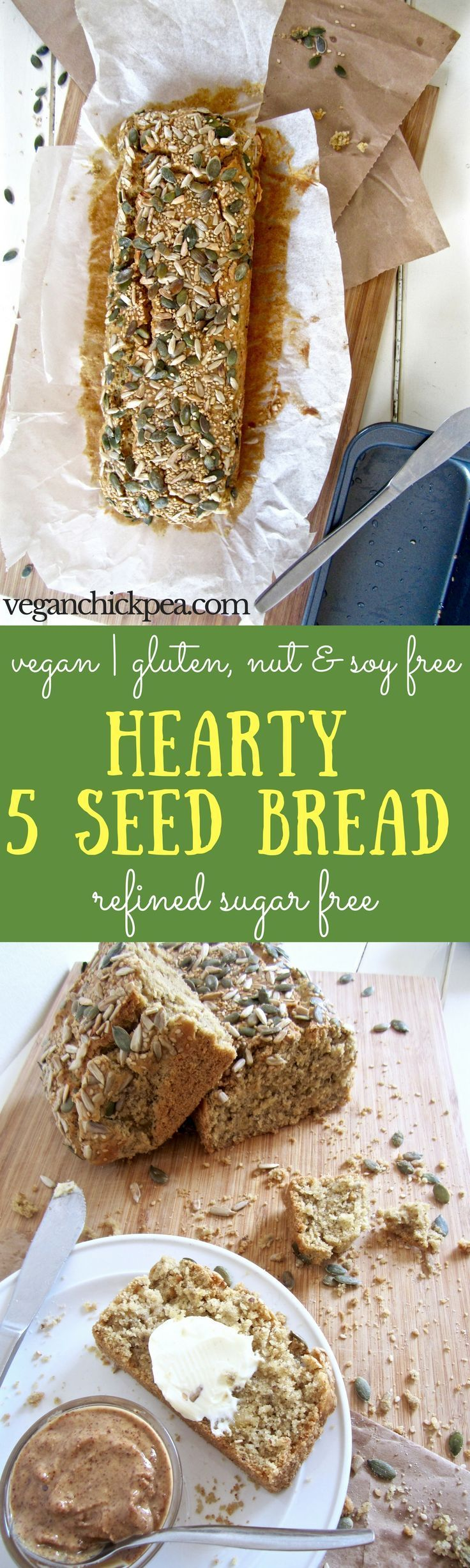 Hearty 5 Seed Bread recipe - a go-to, everyday bread that is vegan, gluten, nut & refined sugar free! Ideal for breakfast, lunch or snacking.