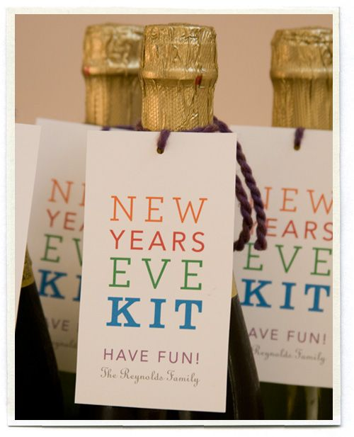 New Years Eve Kit - Christmas gift idea for family friends. 4-packs of sparkling apple cider, then hit the local party store for noisemakers, balloons, blowers, poppers and some sparkly confetti. We packed everything up in a clear party bag and delivered it with a bottle of Martinelli's.