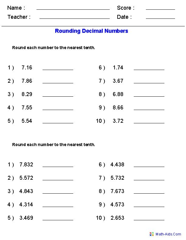 Rounding Worksheets with Decimals  This worksheet was built to aligns to Common Core Standard 5.NBT.4