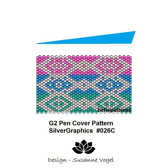 peyote pattern,instant PDF-Download,G2 pen pattern, #026C, G2 Pilot pen cover,beading pattern,beading tutorials,pen wrap pattern