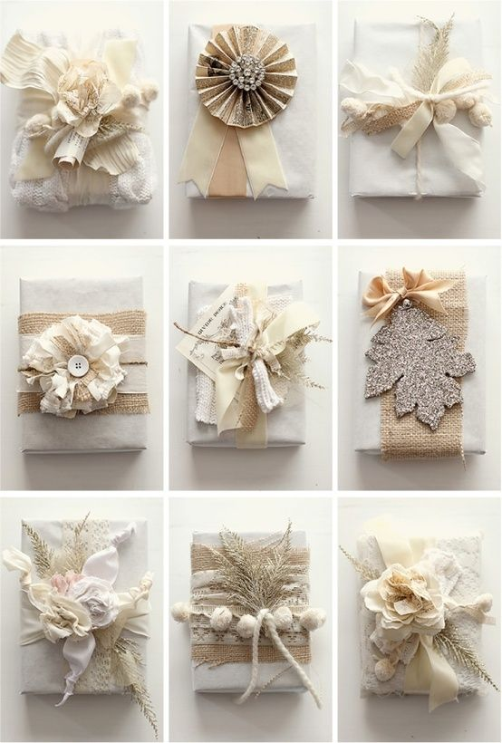 Diy gift wrap, Burlap, Lace, Glitter.  would like to add a bit more sparkle to these