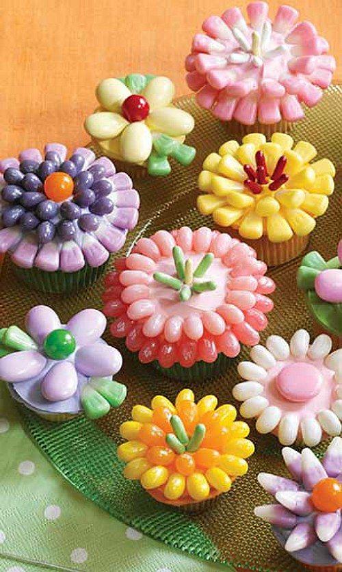 Jelly Bean Flower Cupcakes