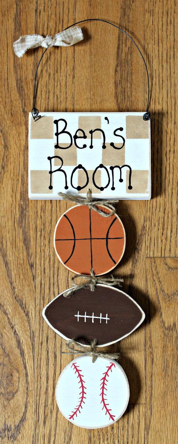 Personalized Boys Bedroom Sports Sign on Etsy, $15.00