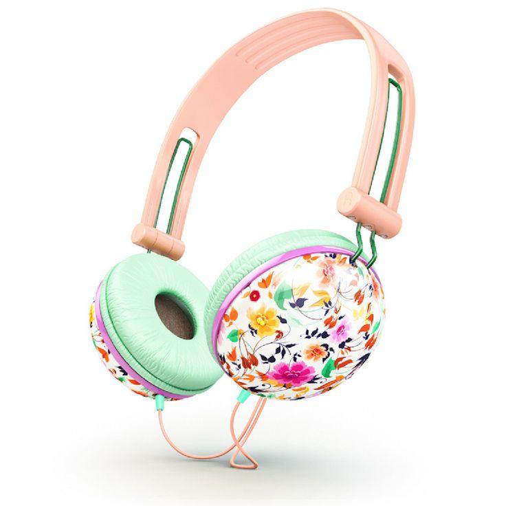 Ankit Pastel peach floral Fat Bass Headphones | Ankit For Eva