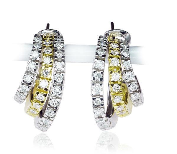 Diamant-Creolen, Ohrringe Gelb-Weissgold mit 1, 59ct Diamanten