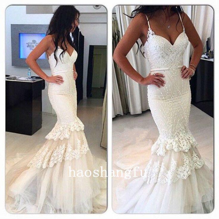 Glamorous Mermaid Bridal Dresses Spaghetti Strap