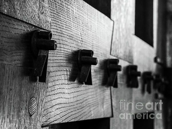 Doors of the World Series by Lexa Harpell. Close up detail of door in Bruges in Black and White.