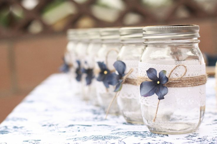 Too cute for words - country-styled mason jars! See more lovely details for this Country Bridal Shower on the blog: http://3d-memoirs.com/diy-country-bridal-shower/ Event Design & Styling - Elvira DeCuir (http://3d-memoirs.com) Photography - Natalie Isabel Photography (www.facebook.com/natalieisabelphotography) Linens - Linen Tablecloth (www.linentablecloth.com)