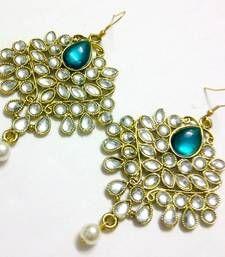Buy Green kundan and pearl drop earrings Online