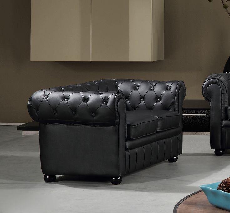 VELAGO - AVIGNON Leather Loveseat Sofa