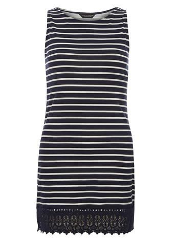 Navy stripe lace hem tunic