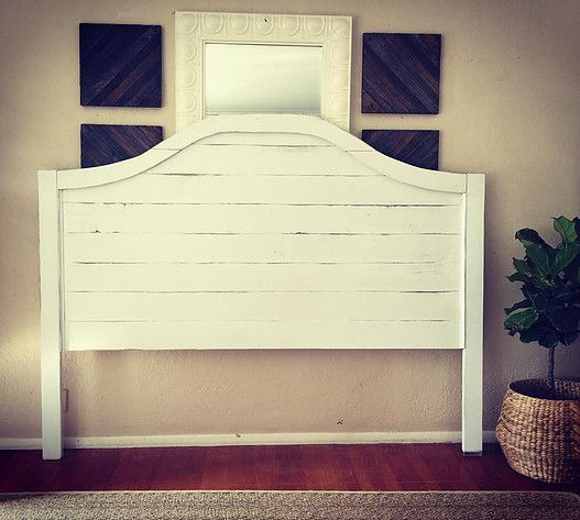white shiplap headboard